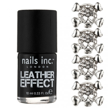 Nails inc - Kit Bling it on Leather & skulls Effet cuir noir