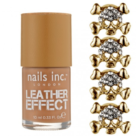 Nail inc - Kit Bling it on Leather & skulls Effet Cuir Doré