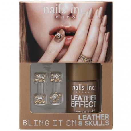 Nails inc - Kit Bling it on Leather & skulls Effet Cuir Doré