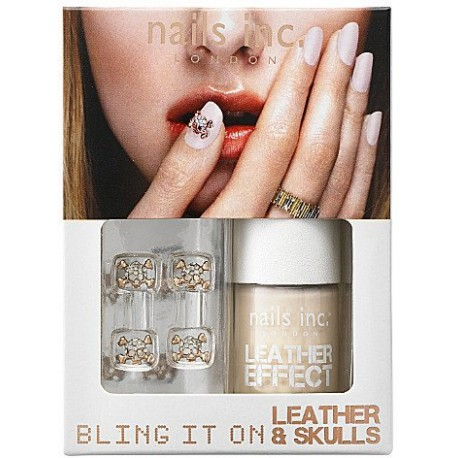 Nails inc - Kit Bling it on Leather & skulls Effet Cuir Rose doré