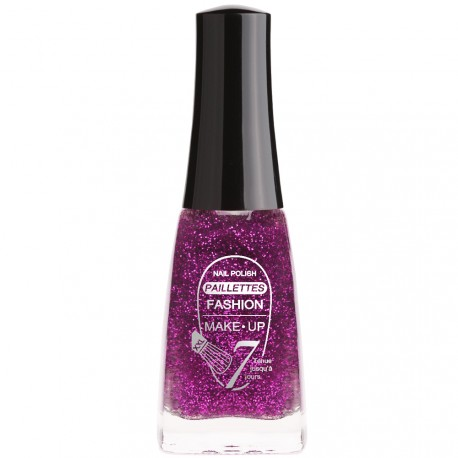 Fashion Make-Up - Vernis à ongles Paillettes N °204 Violet - 11ml
