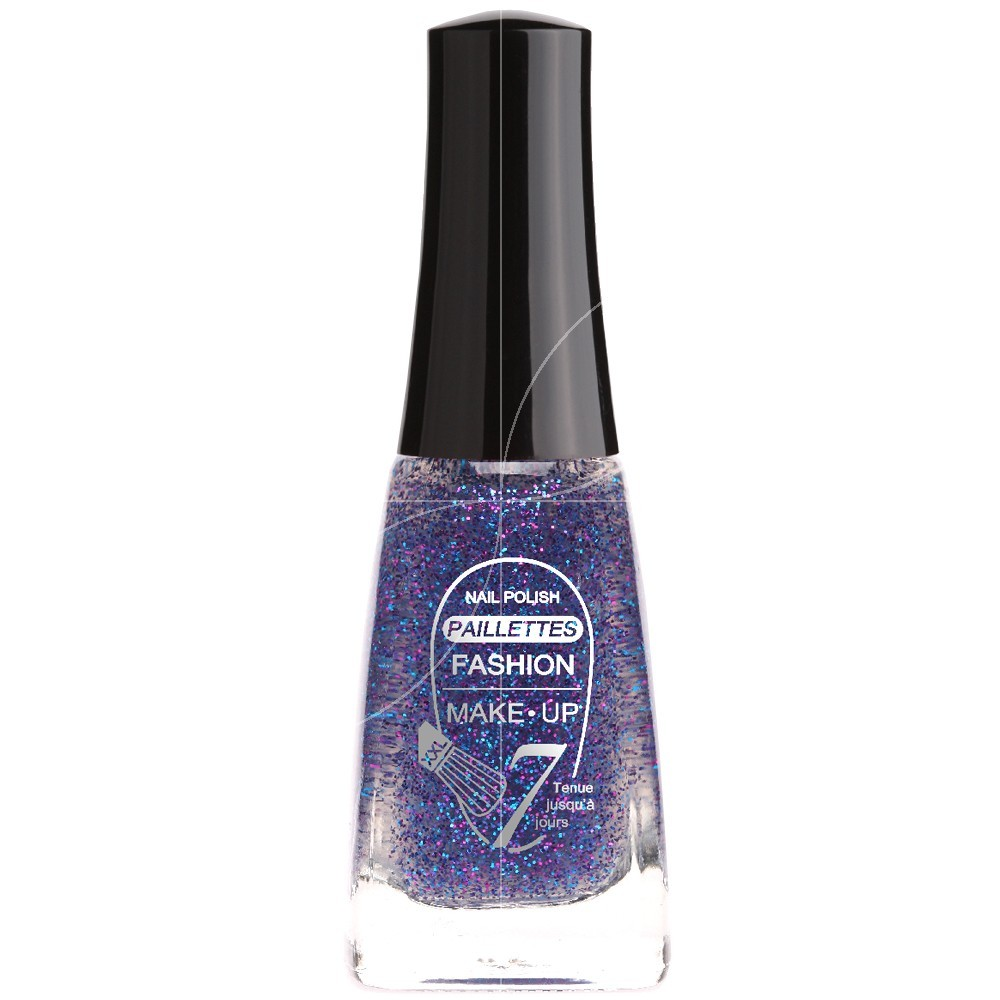 Fashion Make Up - Vernis à ongles Paillettes N °205 Bleu Marine - 11ml