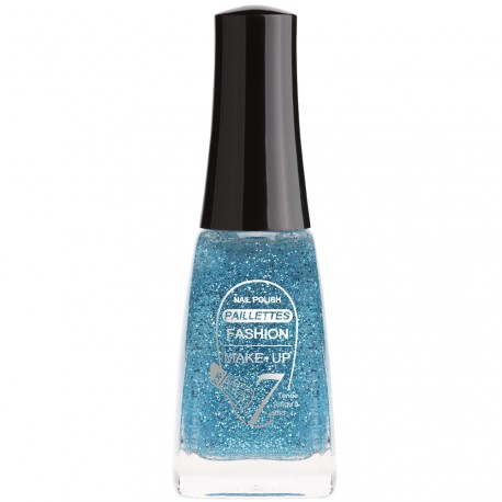 Fashion Make-Up - Vernis à ongles Paillettes N°206 Bleu - 11ml