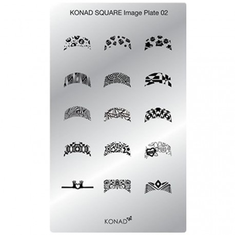 KONAD - Plaques stamping Nail Art rectangulaire N°2