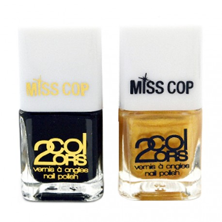 Miss Cop - Coffret Vernis Duo Accent nail Or & Noir
