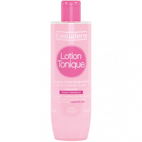 Evoluderm - Lotion tonique apaisante à l'eau florale de rose - 250ml