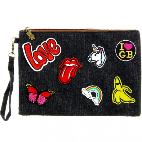 Sweet & Candy - Pochette jean & patch Love