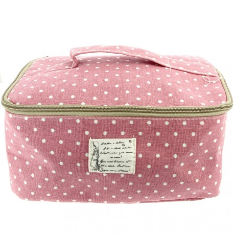 Sweet & candy - Trousse vanity à pois rose grand modèle