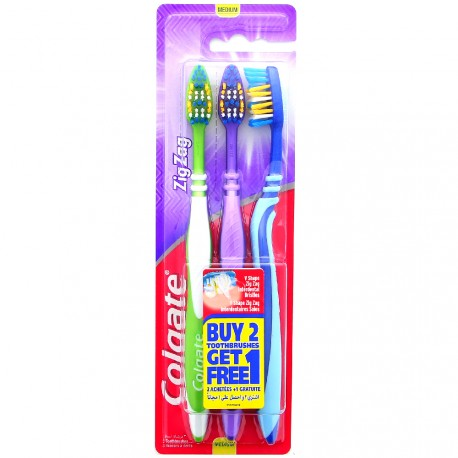 Colgate - Lot de 3 brosses à dents Zig Zag - Médium