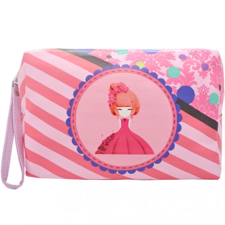 Sweet & Candy - Trousse de toilette Manga Rayé Rose - Grand format