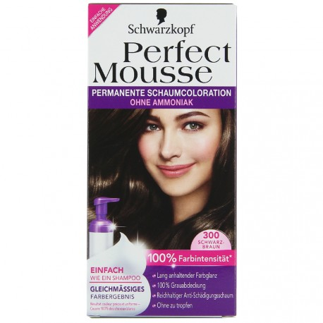 Schwarzkopf - Perfect Mousse - 300 Coloration Brun Noir
