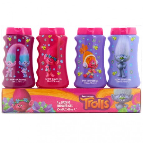 Dream Works - Les Trolls Coffret Gels douche/Bain moussant - 4x75ml