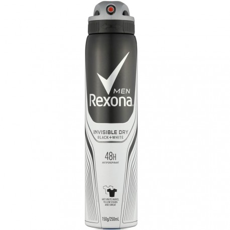 REXONA - Déodorant Spray Invisible Black + White - 150 ml