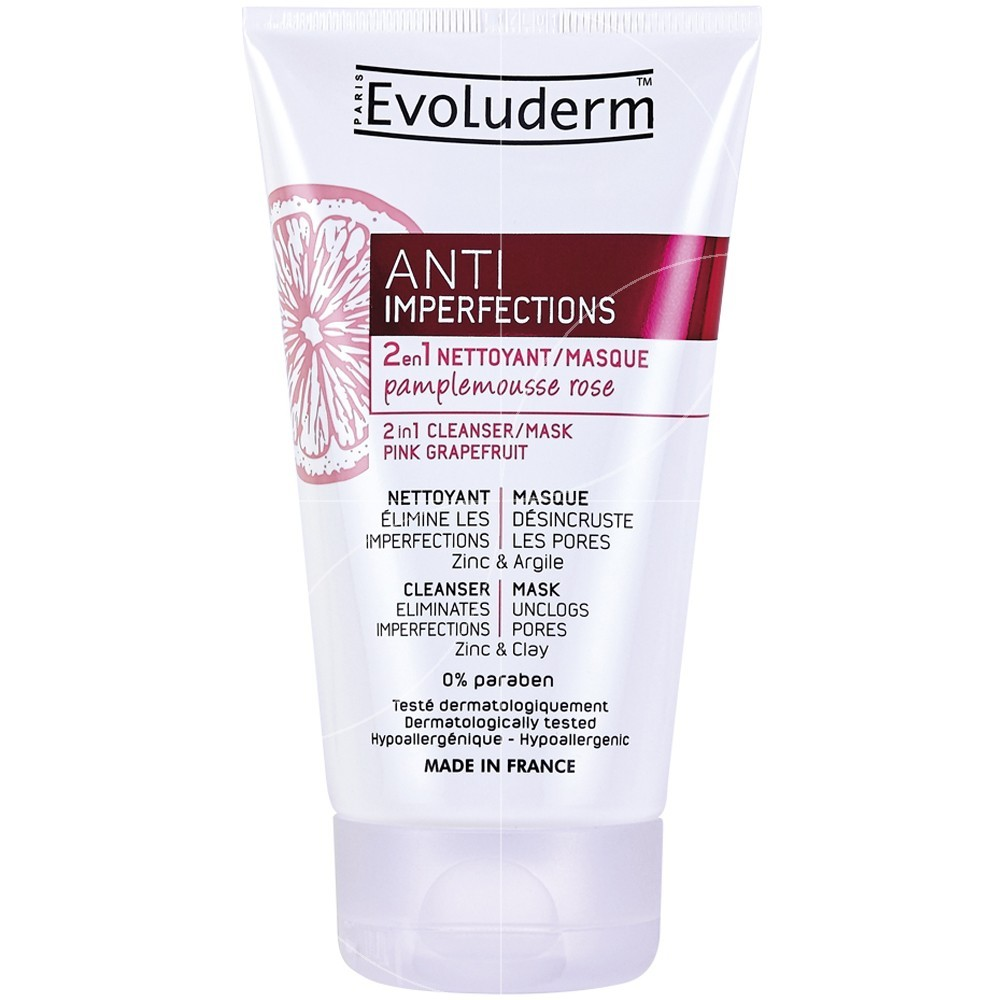 Evoluderm - Nettoyant Masque 2 en 1 Anti-Imperfections Au Pamplemousse Rose - 150ml