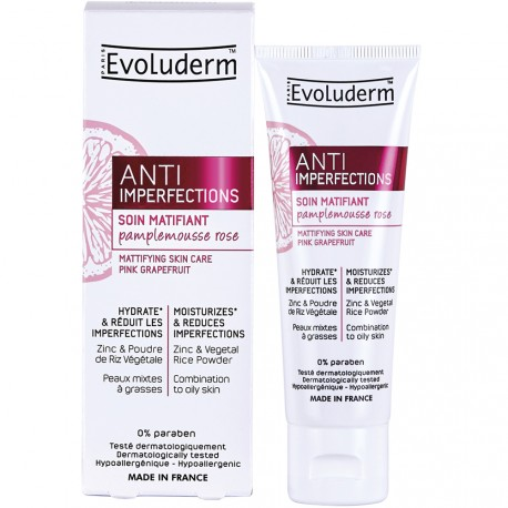 Evoluderm - Soin Matifiant Anti-Imperfections au Pamplemousse Rose - 50ml