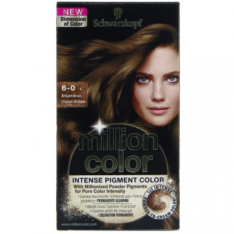 Schwarzkopf - Coloration Million Color - 6.0 châtain brillant
