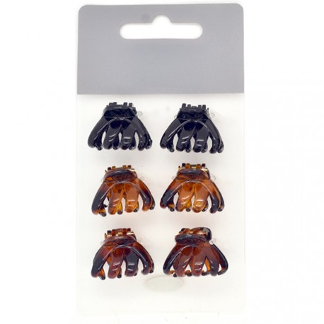 My Accessories - Lot de 6 Mini Pinces Noires et Ecailles - 2,5cm