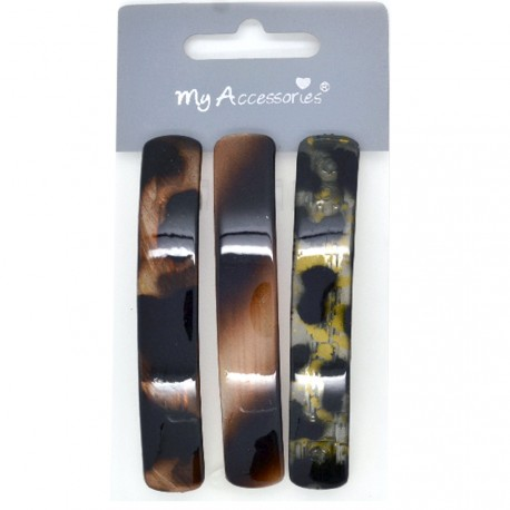 My Accessories - Lot de 3 Barrettes Ecaille - 8,5cm