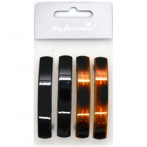 My Accessories - Lot de 4 Barrettes 2 Noires/2 Ecailles - 7cm