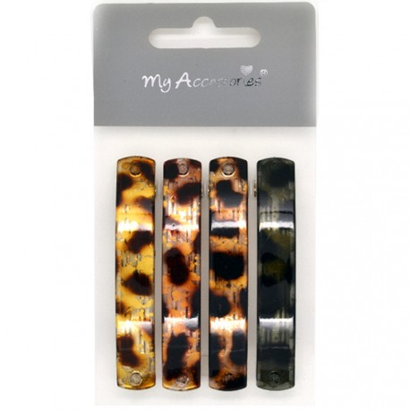 My Accessories - Lot de 4 Barrettes Ecailles - 7cm