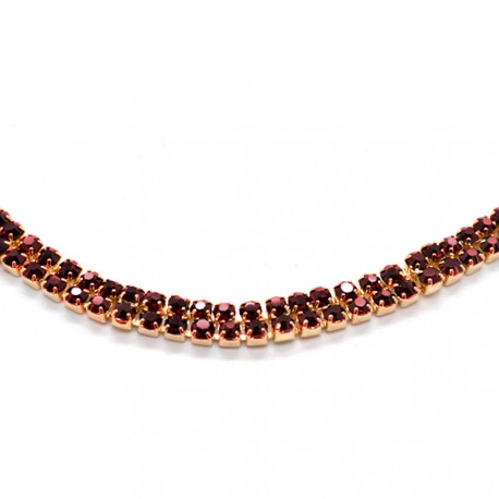 My Accessories - Headband en Strass 02 Or et rouge