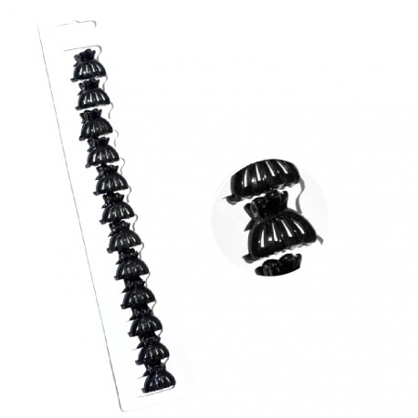 My accessories - Lot de 12 Mini pinces à cheveux fantaisie Noire - 1,5cm