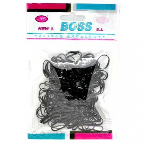 New and Boss - Lot de 160 mini élastiques noirs
