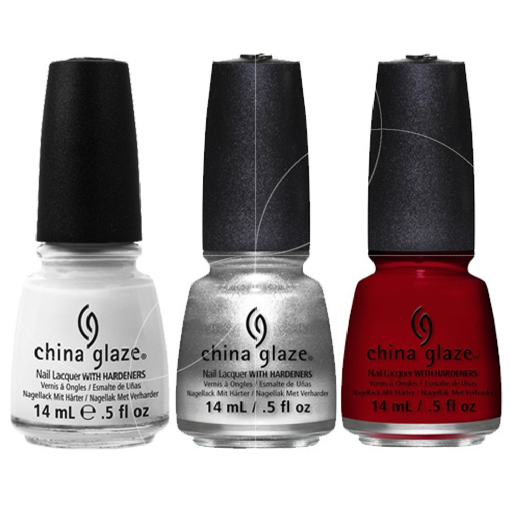 "China Glaze - Kit ""Candycane Can-Can"" - Vernis à ongles laque avec guide d'ongles - 3x14 ml"