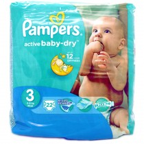 Pampers Baby Dry - 22 Couches - Taille 3