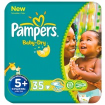 PAMPERS- BABY DRY - 35 Couches - Taille 5+
