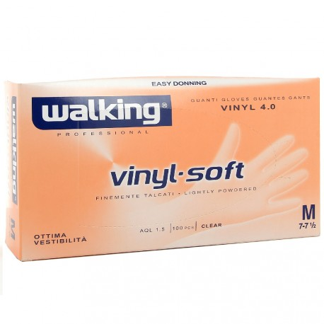 Walking - Gants jetables vinyl-soft M - 100 pcs
