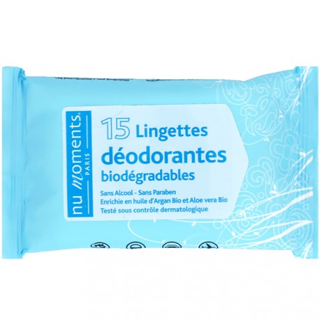 Nu Moments - Lingettes déodorantes biodégradables x 15