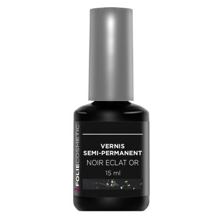 Folie Cosmetic - Vernis Semi-permanent- Noir Eclat or - 15ml