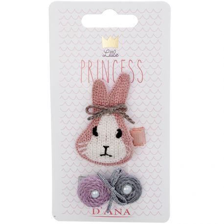 D'Ana - Little Princess lapin lot de 2 barrettes