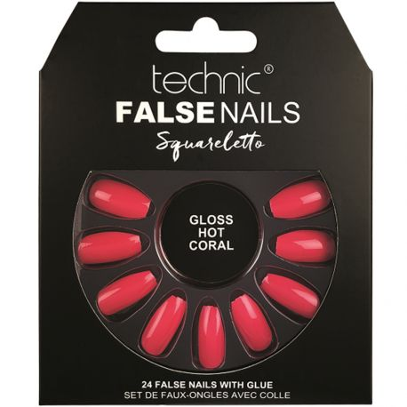 technic - Faux ongles, squareletto, Gloss Hot Coral