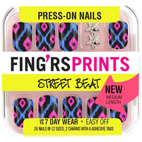 Fing'rs - Faux Ongles Street Beat avec 2 Strass Etoiles - 24 pcs