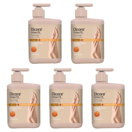 Dicora® Urban Fit - Lot de 5 savons liquides mains Amande & Noix - 500ml