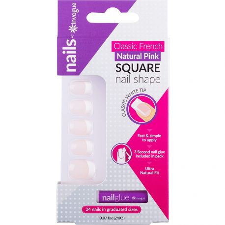 Invogue - Classic French Naturel rose 24 Faux ongles + 1 colle