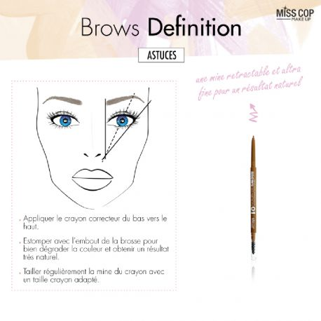 Miss Cop - Crayon sourcils Brown definition n°01 Sable - 1gr