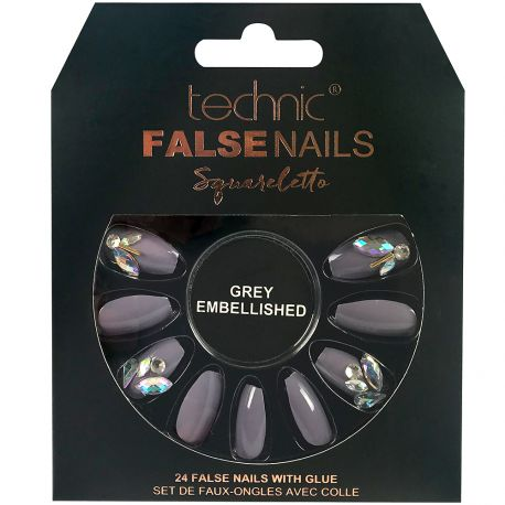 technic - Faux ongles Squareletto - Grey Embellished