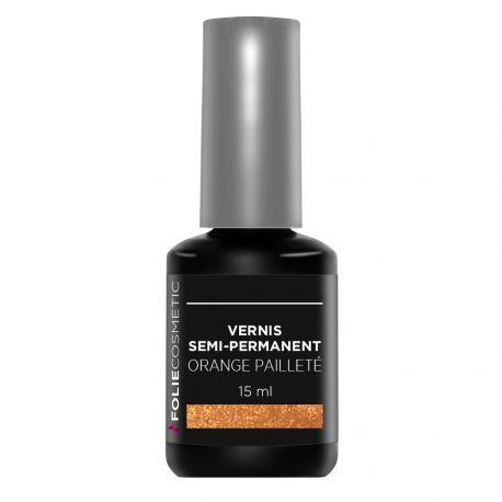 Folie Cosmetic - Vernis Semi-permanent- Orange pailleté - 15ml