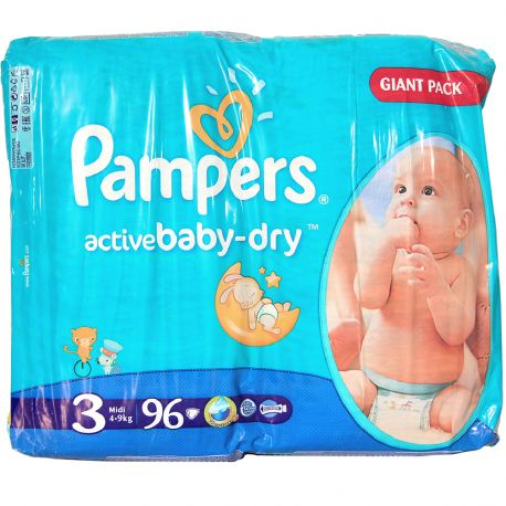 Pampers active Baby Dry - Giant pack 96 couches - Taille 3