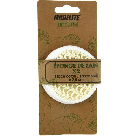 Modelite Nature - Eponge de bain 2 faces X2
